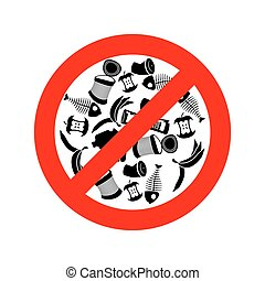 Stop littering. Ban garbage. It is forbidden to litter. red...