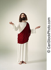 Jesus standing with his hands outstretched