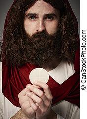 Cristo, santo, Eucaristia, gesù, presa a terra, mani