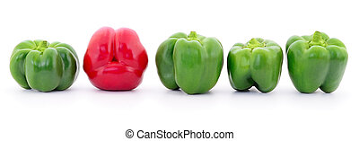 Red and green peppers. - Red and green peppers isolated on...