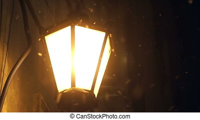 Lamp street light snow rain - Lantern at night. There is...