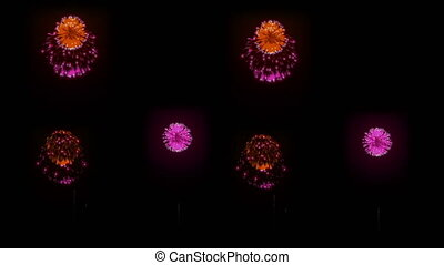 Big beautiful firework at holiday night. 3d animation with different versions fireckrackers. version 20
