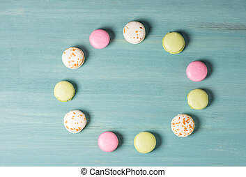 Delicious sweet macarons - Top view of circle shape from...