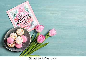 Macarons and greeting card - Top view of Happy mothers day...