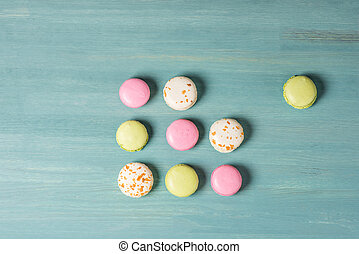 Delicious sweet macarons - Top view of delicious sweet...