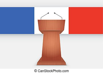 Wooden Podium Tribune with French Flag
