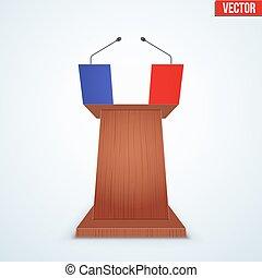 Wooden Podium Tribune with French Flag - Wooden Podium...