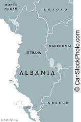 Albania political map with capital Tirana, national borders...