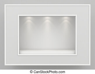 Empty showcase, mock up. - Empty clean showcase, mock up. 3d...