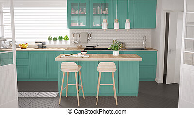 Scandinavian classic kitchen with wooden and turquoise...