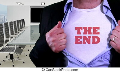 The end title on a shirt funny gag - Shot of The end title...