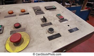 Dusty control panel in a factory - Control panel in a...