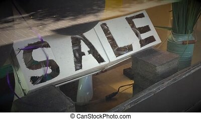 Sale sign with lights - Self made artistic sale sign on...
