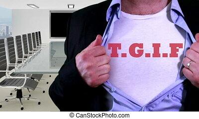 Employee wearing tgif shirt - Shot of Employee wearing tgif...