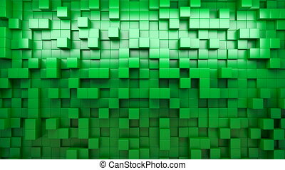 3D rendering. Green extruded cubes. Abstract background. Loop.