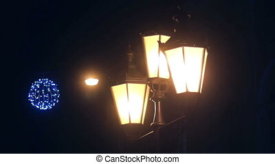 Night evening lamp snow - Night Winter Street Lamp With...