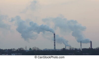 Smoke winter factory pipe - Chimney smoke background factory...