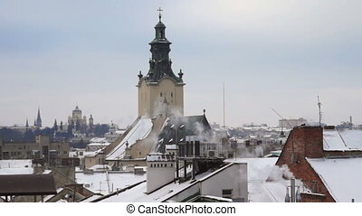 City smoke roof winter - Roof in the Snow , the Old Town ,...