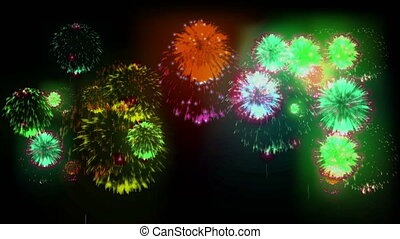 4K multiple fireworks. Beatiful colorful big firecrakers. 3d animation, different versions. 2