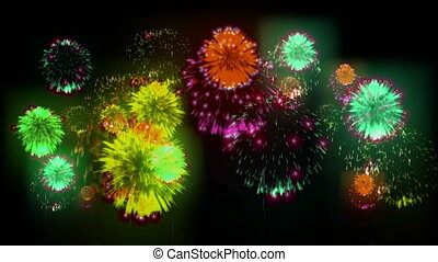 4K multiple fireworks. Beatiful colorful big firecrakers. 3d animation, different versions. 3