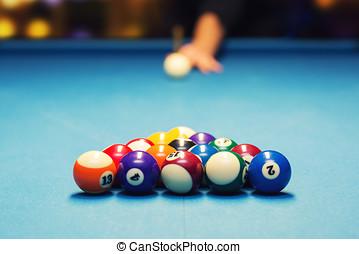 pool billiard - ready for break shot
