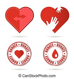 donate icon with red heart illustration