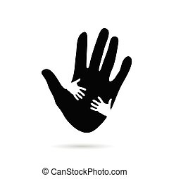 hands help in black and white illustration