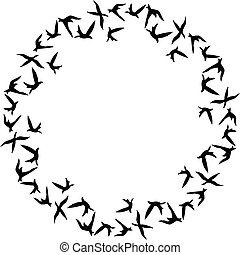 Flock of birds flying in circle - Scalable vectorial image...