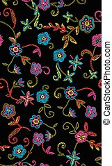 Seamless of flowers embroidered black background