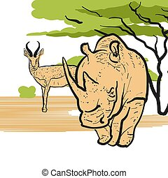 Rhino and Antelpoe in savannah, Hand-drawn Vector Outline...