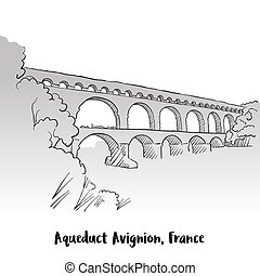 Aqueduct Avignion, France Greeting Card Design, Hand-drawn...