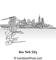 NYC Skyline Greeting Card Design, Hand-drawn Vector Outline...