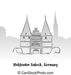 Holstentor Lubeck Greeting Card, Hand-drawn Vector Outline...