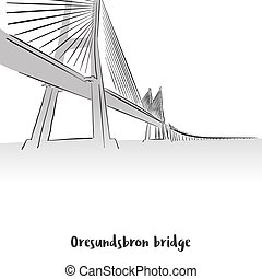 Oresundsbron Bridge Print Deisgn, Hand-drawn Vector Outline...