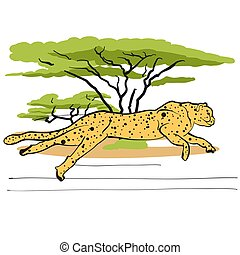 Cheetah in savannah, Hand-drawn Vector Outline Sketch