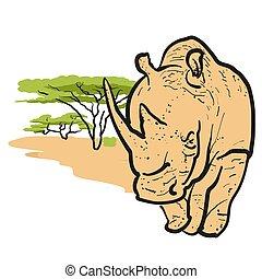 Rhino in savannah Card Design, Hand-drawn Vector Outline...