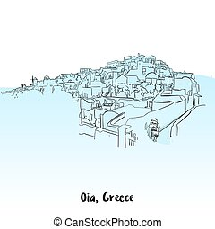 Oia, Greece Greeting Card Design, Hand-drawn Vector Outline...