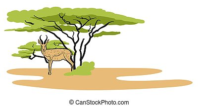 Antelope in savanna, Illustration, Hand-drawn Vector Outline...