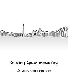St Peter Square Greeting Card Design, Hand-drawn Vector...
