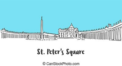 St Peter Square Vatican City, Hand-drawn Vector Outline...