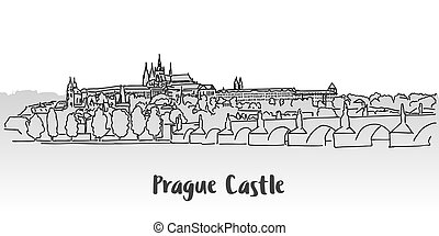 Prague Castle Greeting Card Design, Hand-drawn Vector...