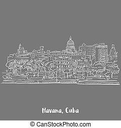 Havana, Cuba White on Grey, Hand-drawn Vector Outline Sketch