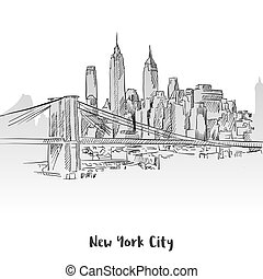 New York City Skyline Sketch, Hand-drawn Vector Outline...