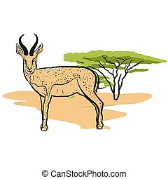 Antelope in savannah, Hand-drawn Vector Outline Sketch