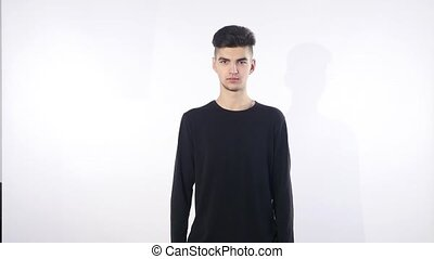 Face of the young men on an isolated white background