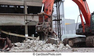 Excavator Wtih Hydraulic Pulverizer Crack Stones - Excavator...