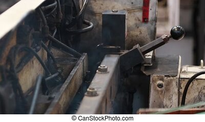Smoking industrial machine pollution - industrial machine...