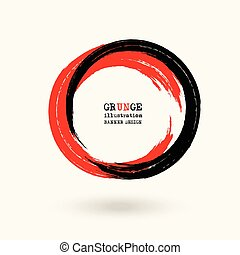 Black and red ink round stroke on white background. Vector...