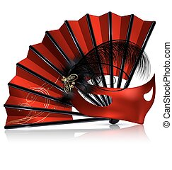 red fan and mask with feathers - white background and the...