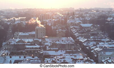 City roof house street winter sunset smoke - Sky at Dawn of...